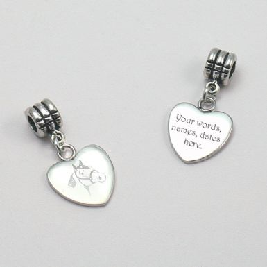 Personalised and Engraved Horse Head Heart Charm | Someone Remembered